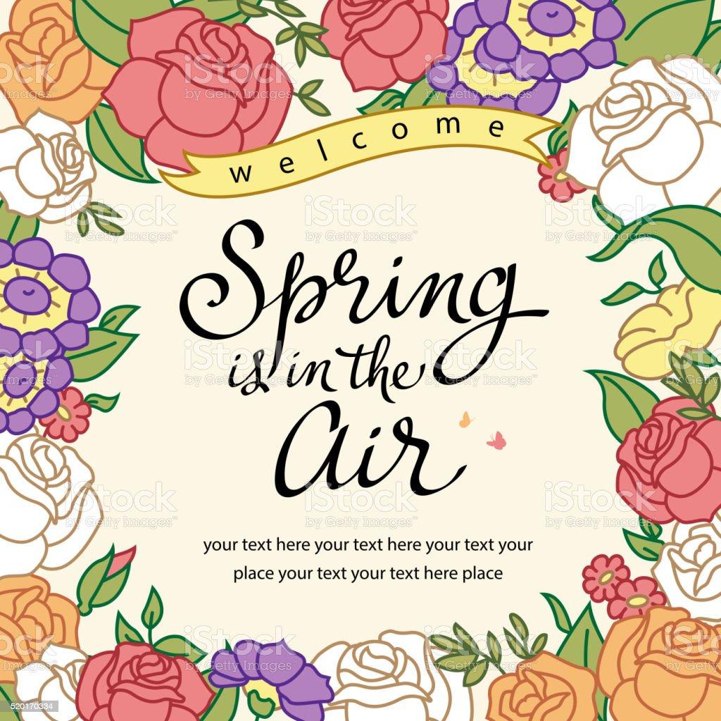 Vintage Spring Floral vector art illustration