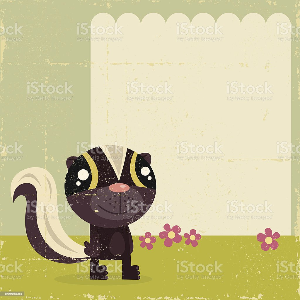 Vintage Spring Skunk with Sign royalty-free stock vector art