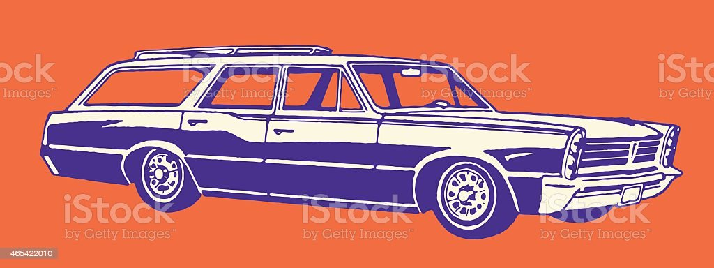 Vintage Station Wagon vector art illustration