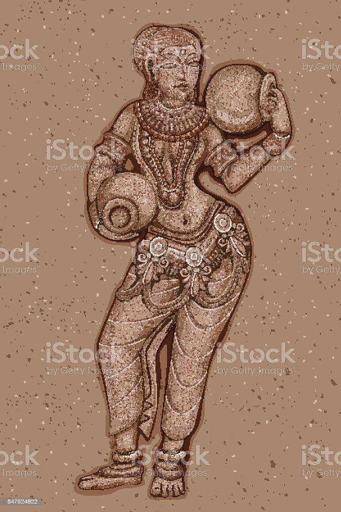 Vintage Statue of Indian female Sculpture vector art illustration