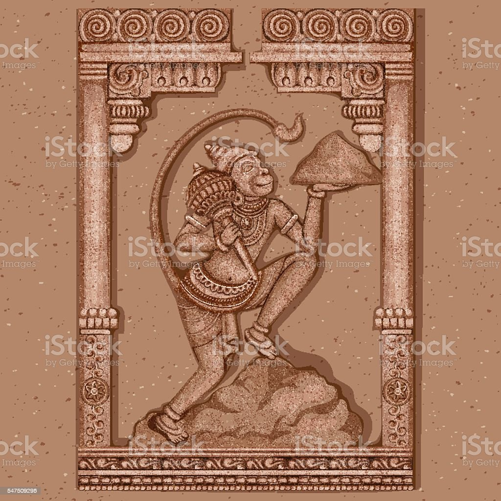 Vintage Statue of Indian Lord Hanuman Sculpture vector art illustration