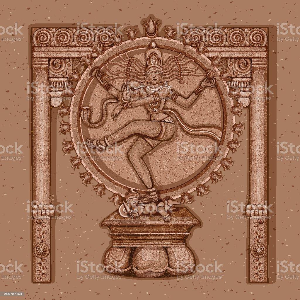 Vintage Statue of Indian Lord Shiva Nataraja Sculpture vector art illustration