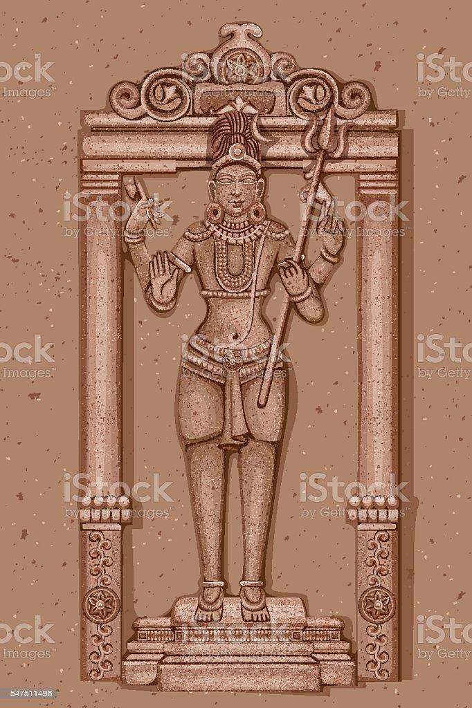 Vintage Statue of Indian Lord Shiva Sculpture vector art illustration