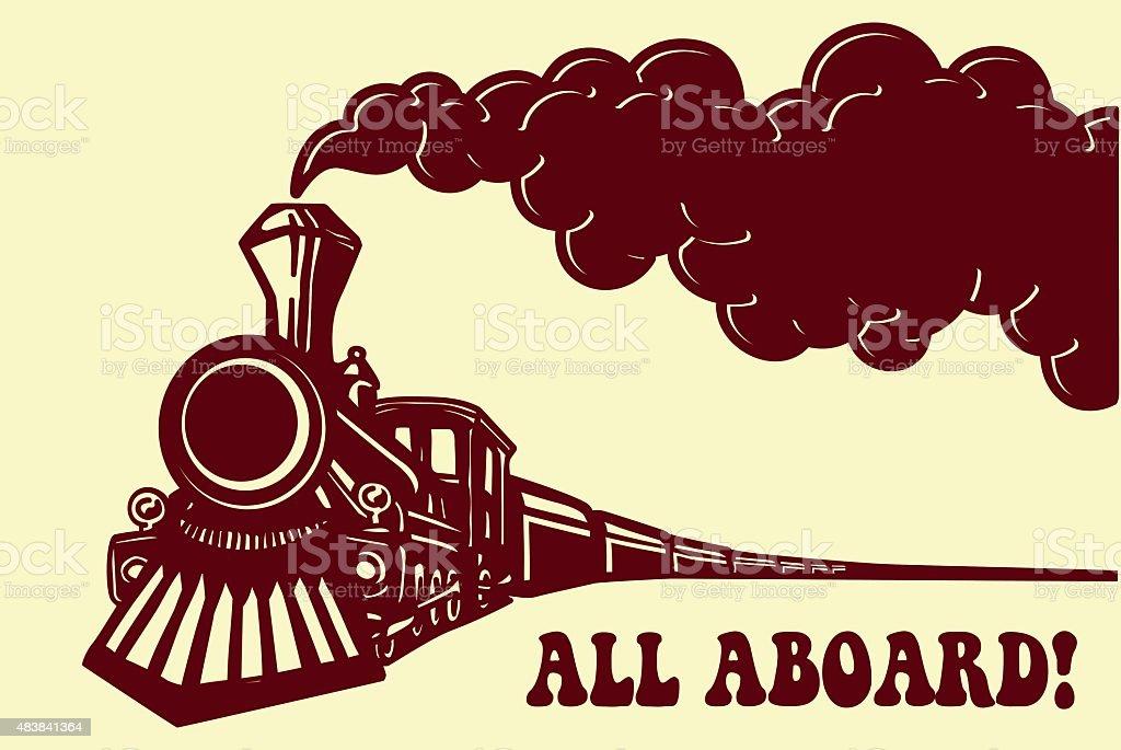Vintage steam train locomotive with smoke vector. All Aboard! vector art illustration