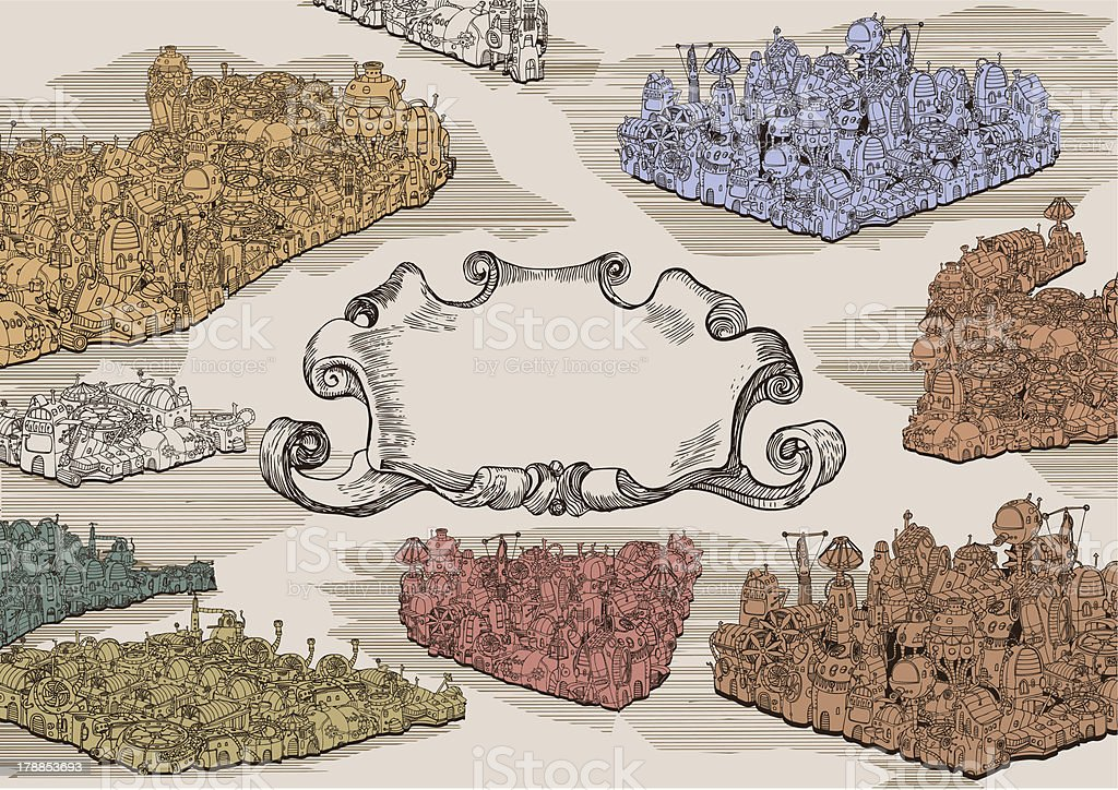Vintage Steampunk City royalty-free stock vector art