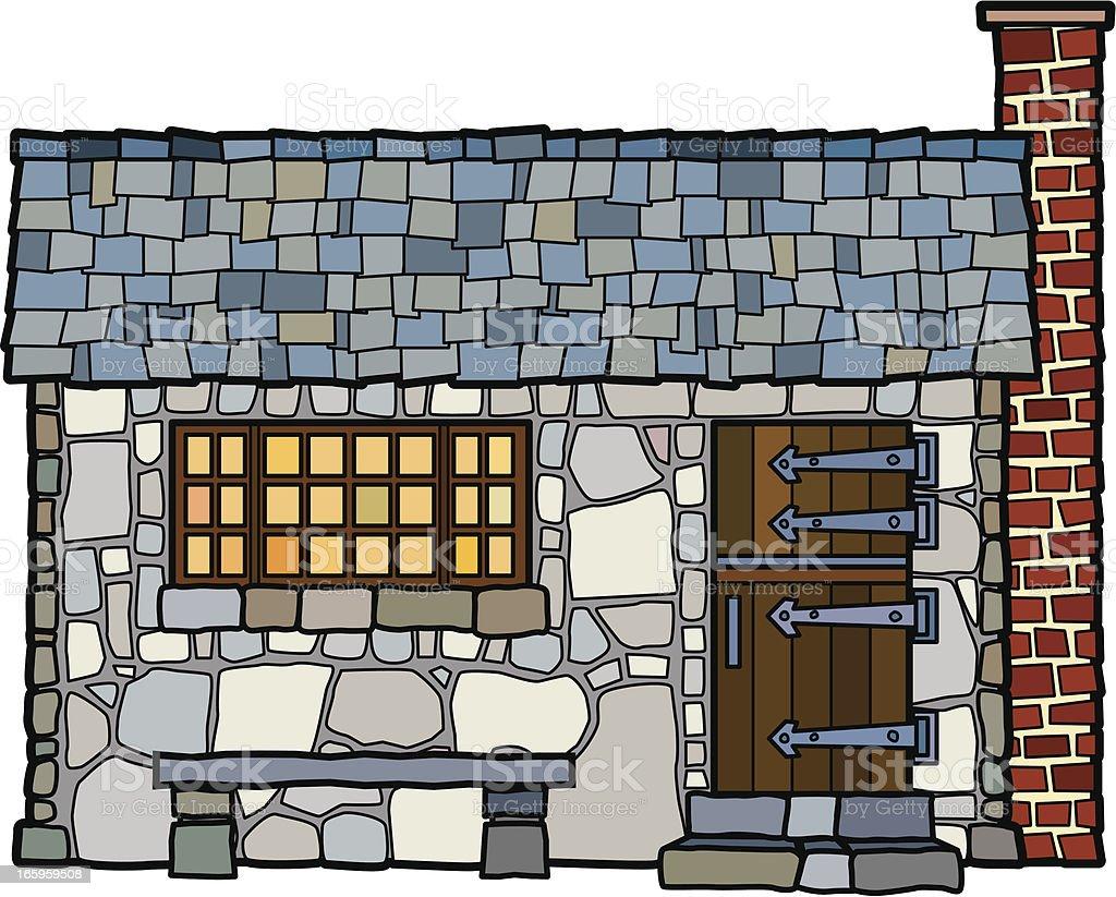Vintage Stone Cottage vector art illustration