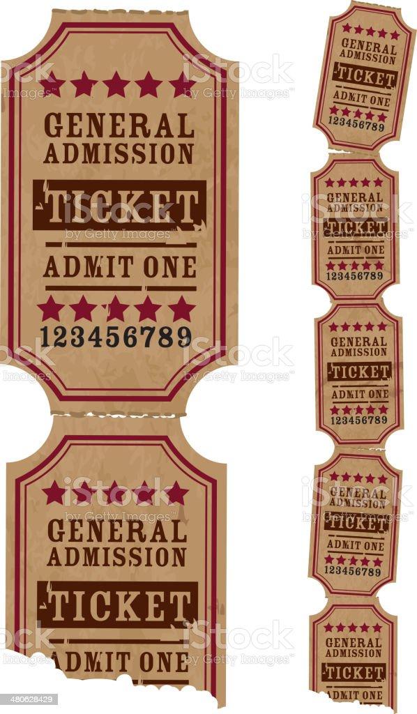Vintage strip of tickets vector art illustration