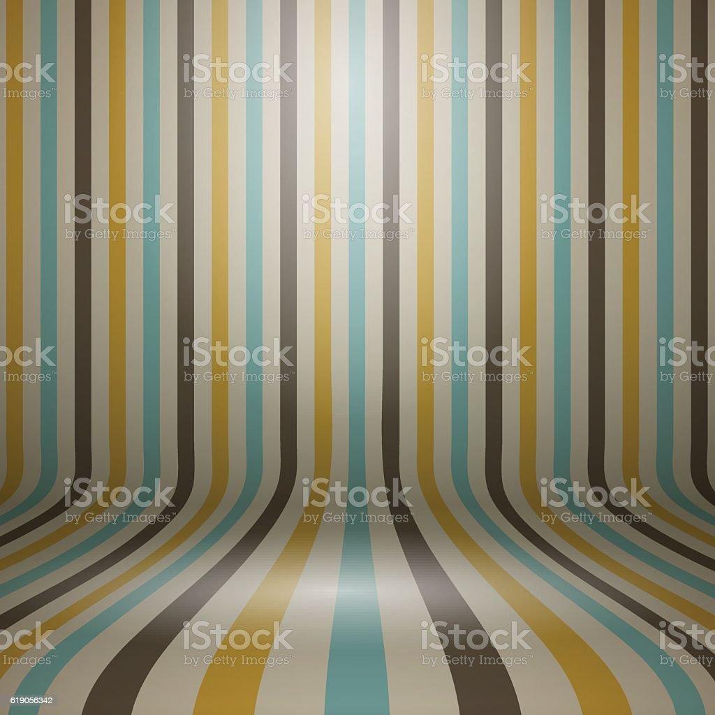 Vintage striped curved display background vector art illustration