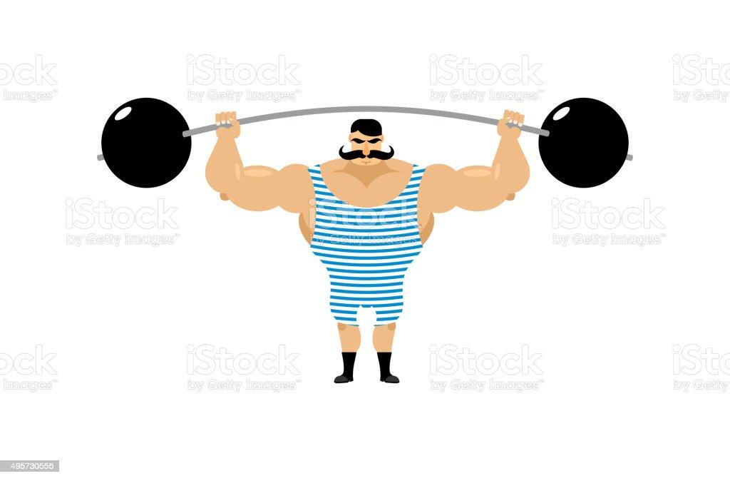 Vintage Strongman. Ancient athlete. Retro bodybuilder barbell. S vector art illustration