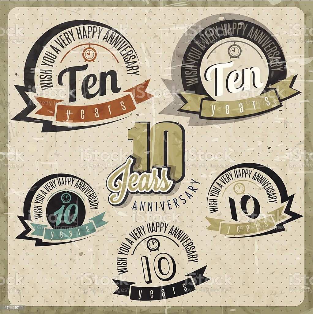 Vintage style 10 anniversary sign collection. vector art illustration