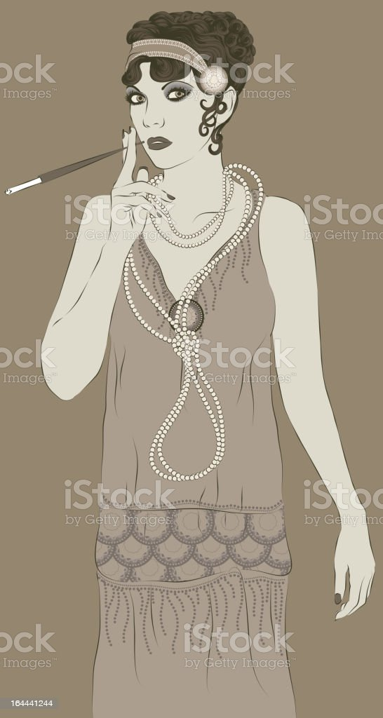 Vintage style 1920s flapper woman royalty-free stock vector art