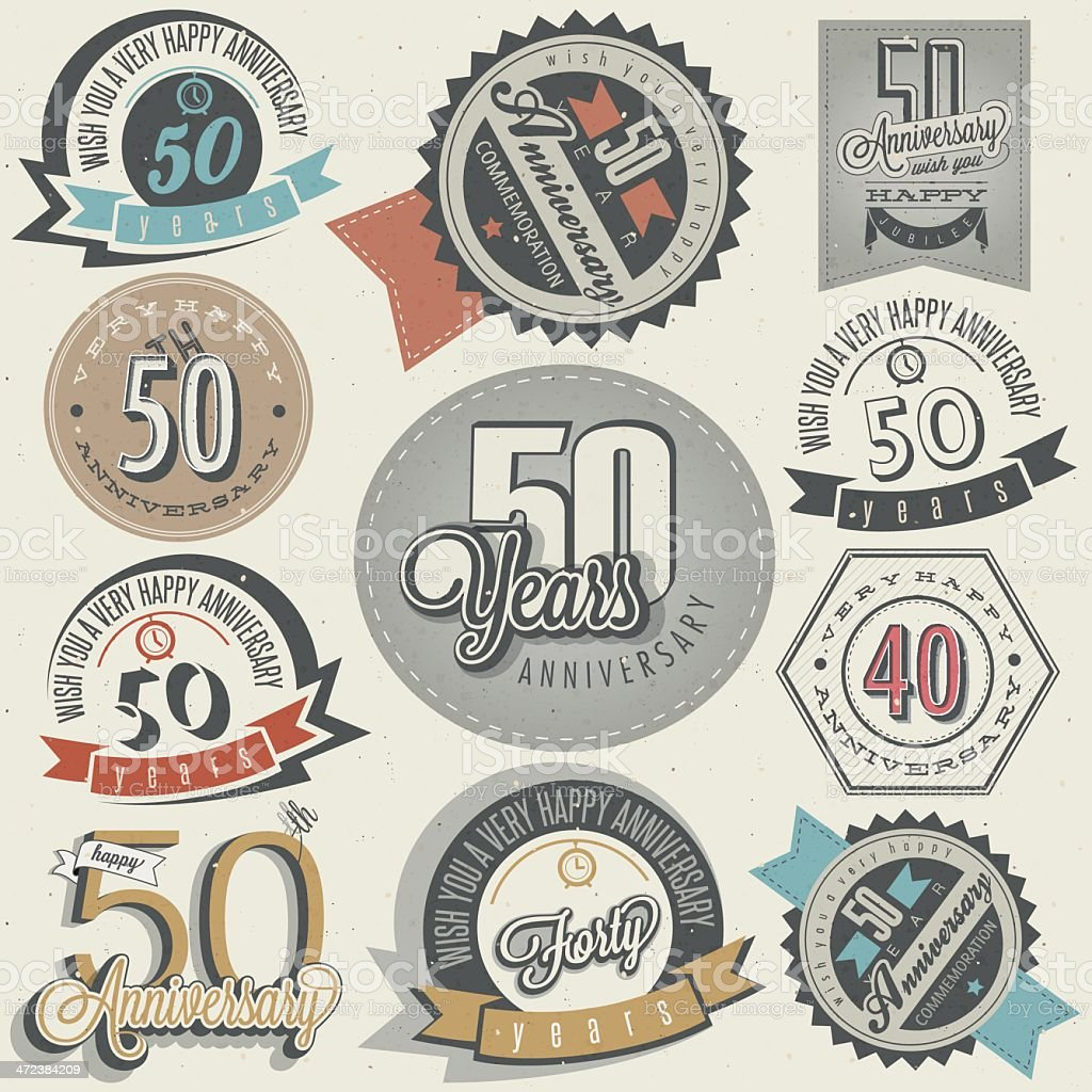 Vintage style 50 anniversary collection vector art illustration