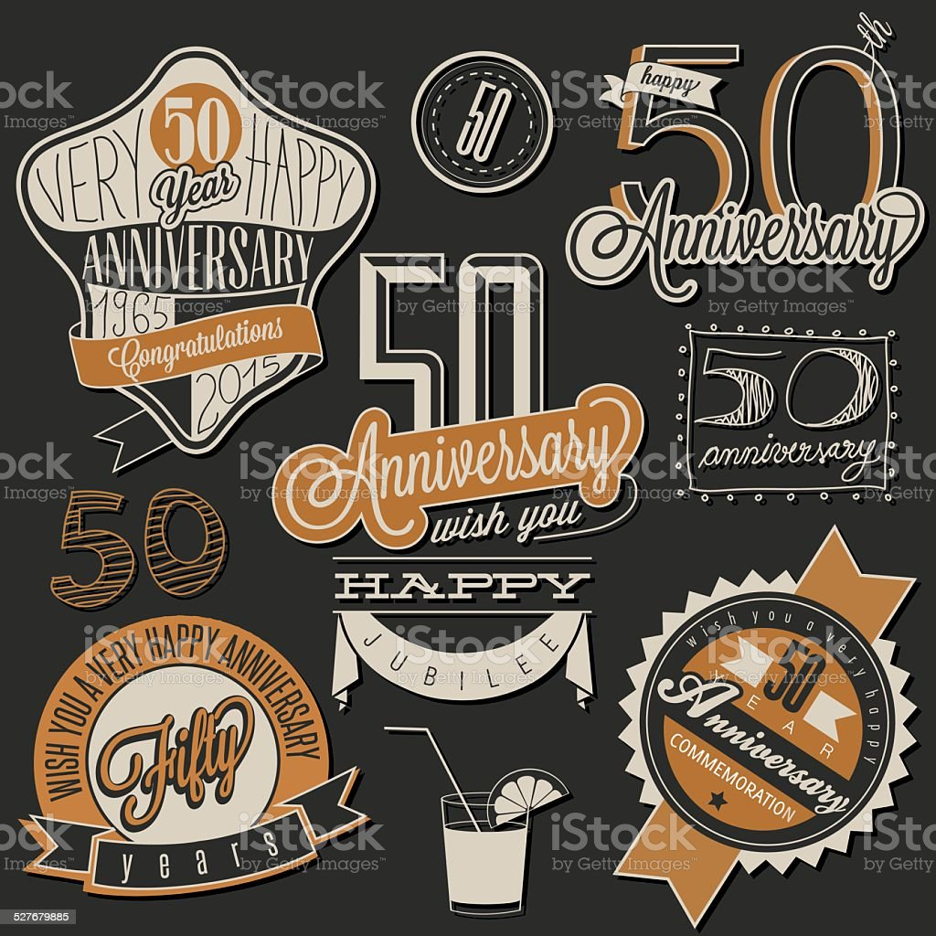 Vintage style 50 anniversary collection. vector art illustration
