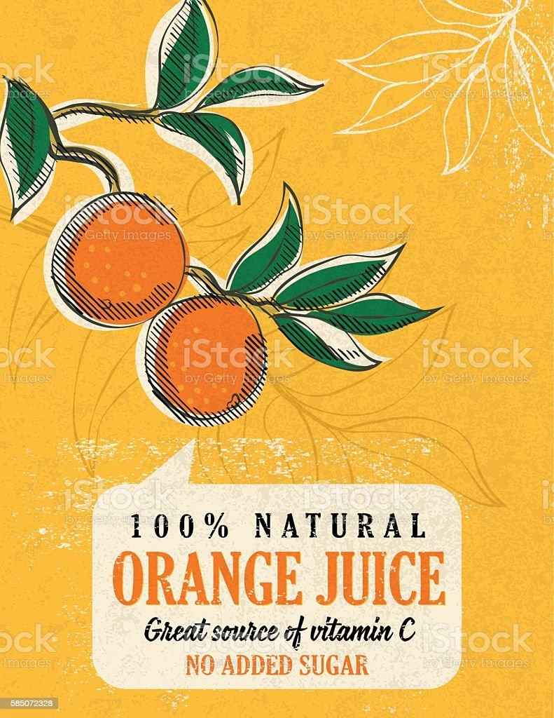 Vintage Style Advertising Orange Juice Poster vector art illustration