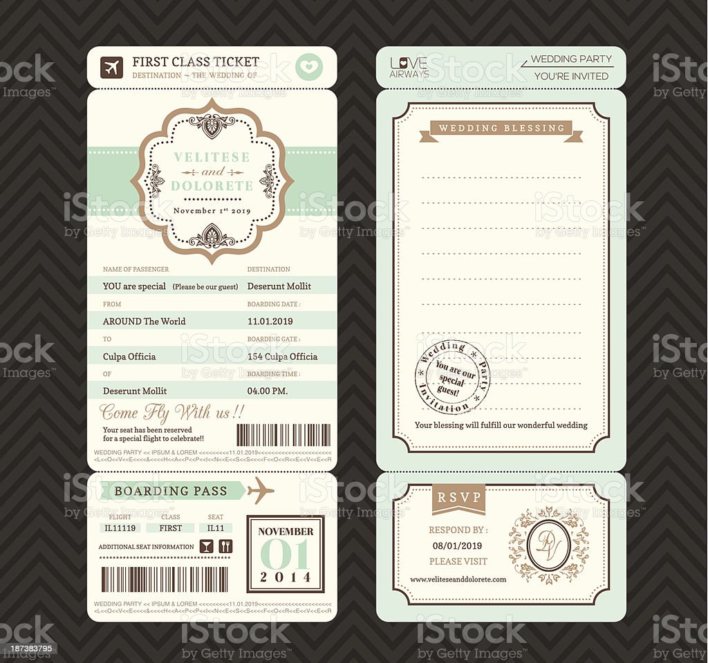 Vintage style Boarding Pass Ticket Wedding Invitation Template Vector royalty-free stock vector art