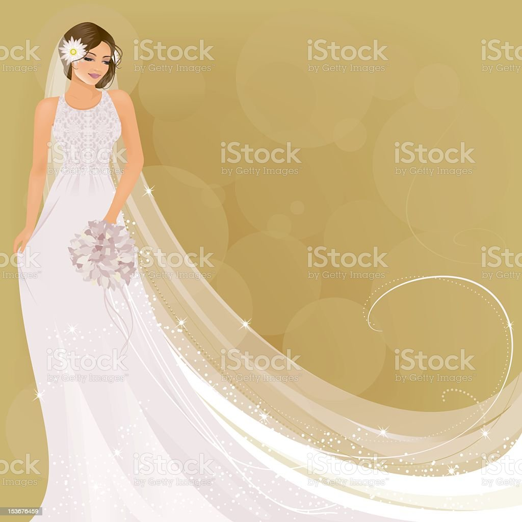 Vintage Style Bride vector art illustration