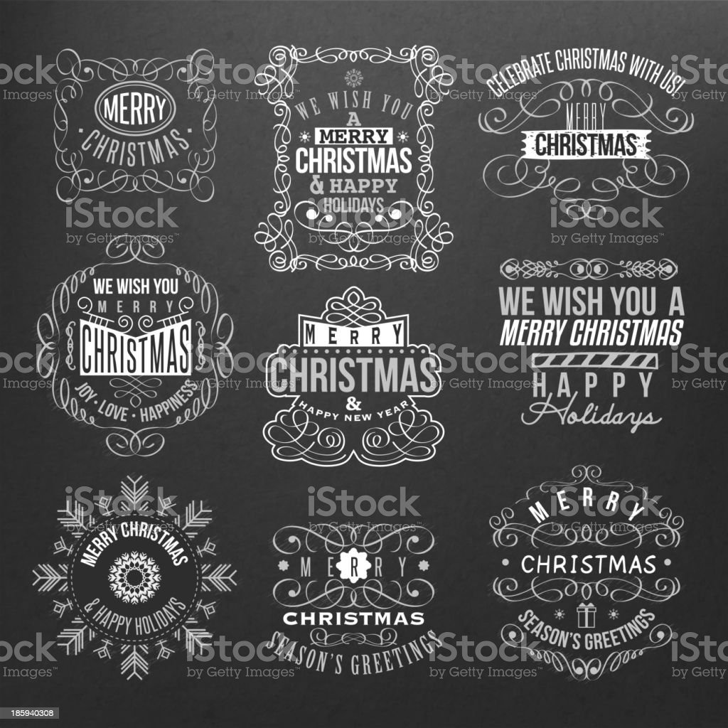 Vintage style Christmas labels on black background royalty-free stock vector art
