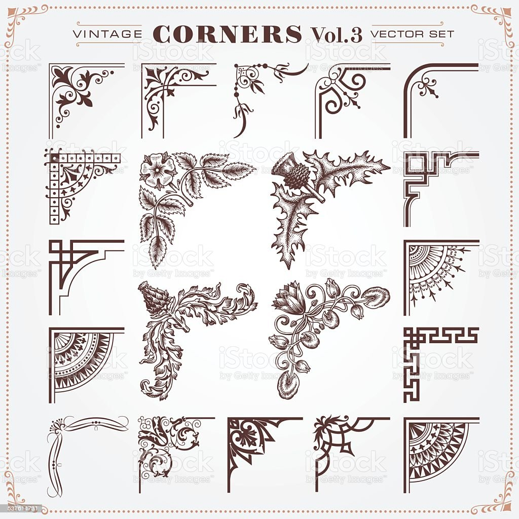 Vintage Style Corners And Borders 3 vector art illustration