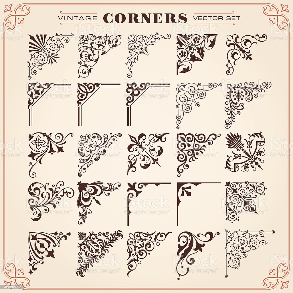 Vintage Style Corners And Borders Vector vector art illustration