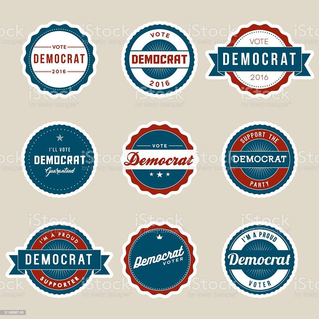 Vintage Style Democrat Election Voter Campaign Badges vector art illustration