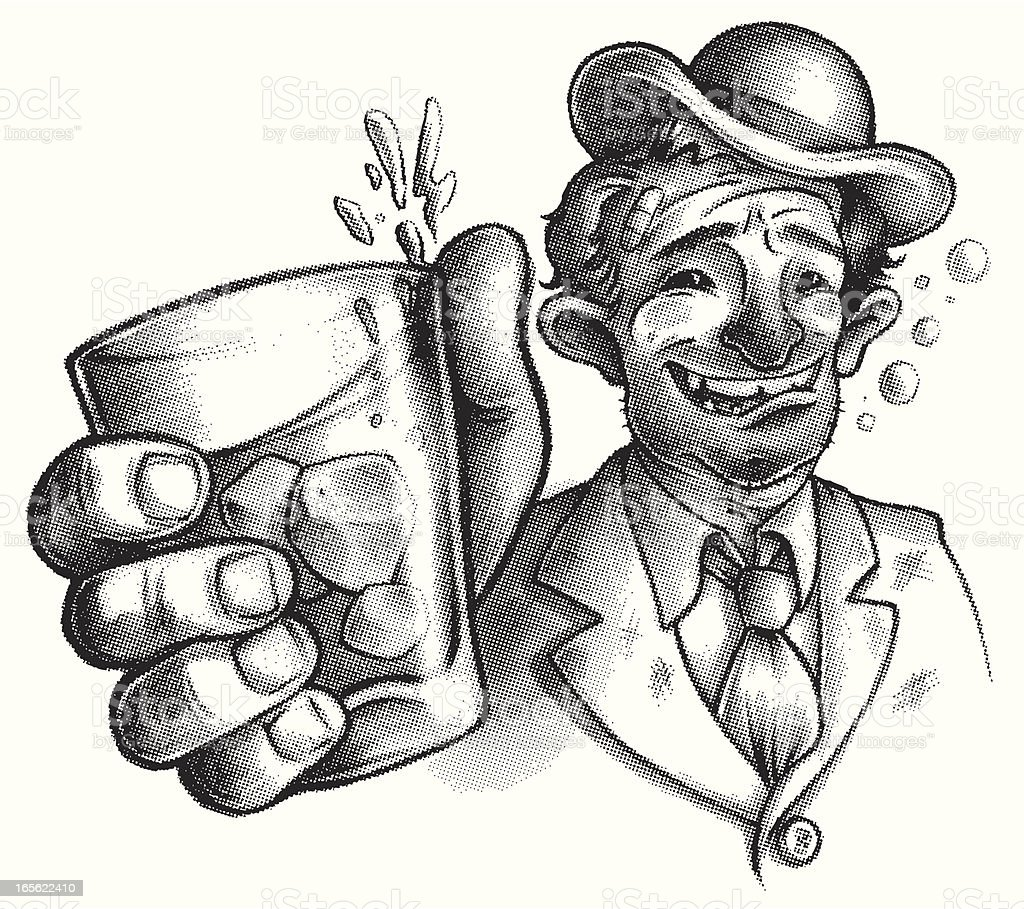 vintage style drunk or wino vector art illustration