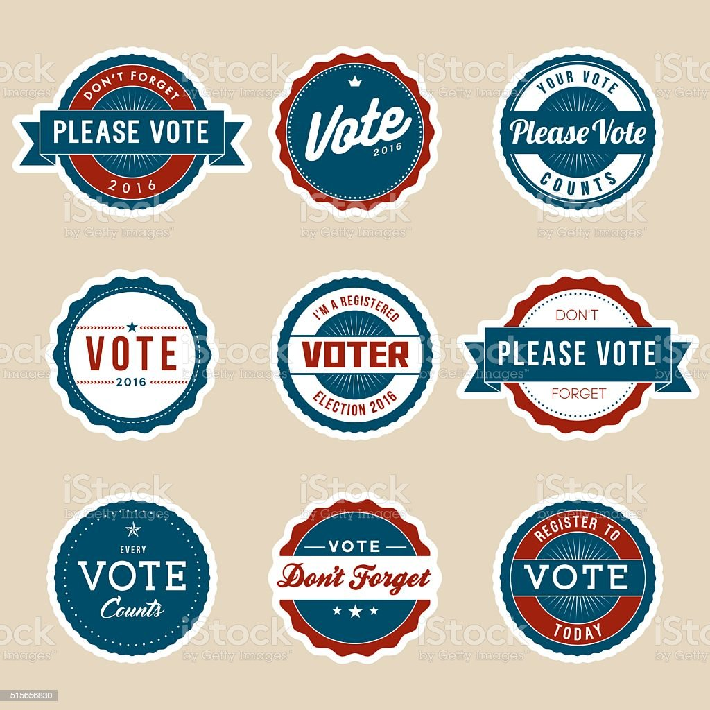 Vintage Style Election Voter Campaign Badges vector art illustration