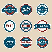Vintage Style Election Voter Campaign Badges