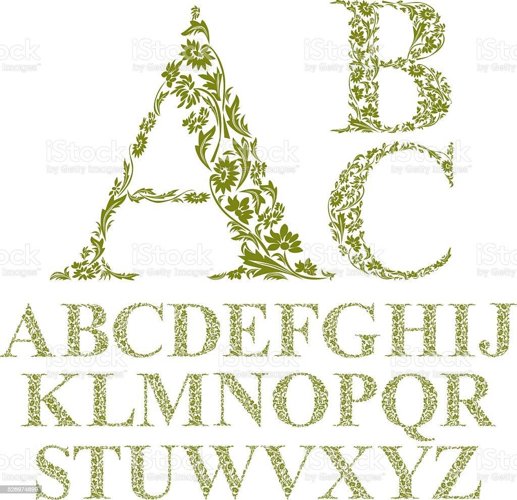 Vintage style floral letters font, vector alphabet. vector art illustration