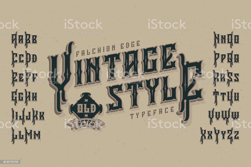 Vintage style font. Retro typeface named 'Falchion Edge'. vector art illustration
