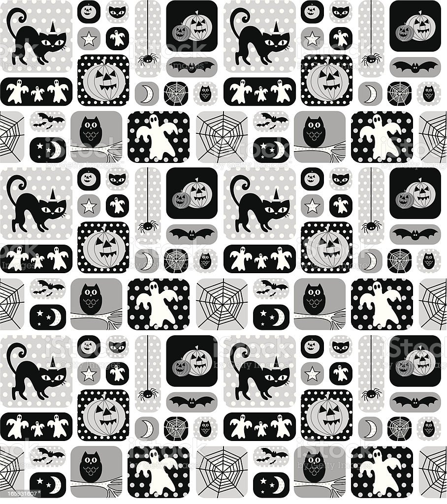 Vintage Style Halloween Seamless Repeat Pattern & Polka Dots royalty-free stock vector art