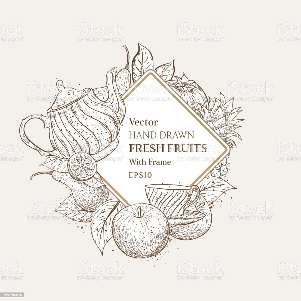 Vintage Style Hand Drawn Fruits With Frame For Text vector art illustration