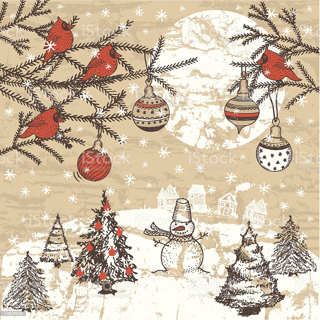 Vintage style hand-drawn Christmas illustration vector art illustration