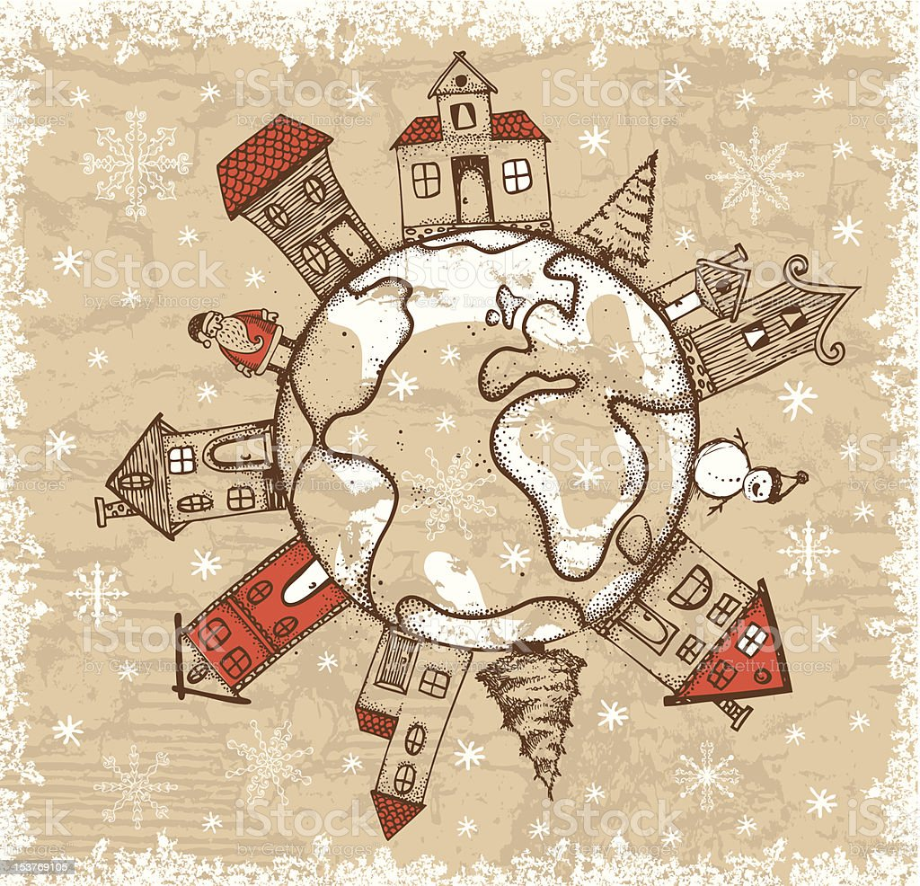 Vintage style hand-drawn Christmas illustration vector art illustration