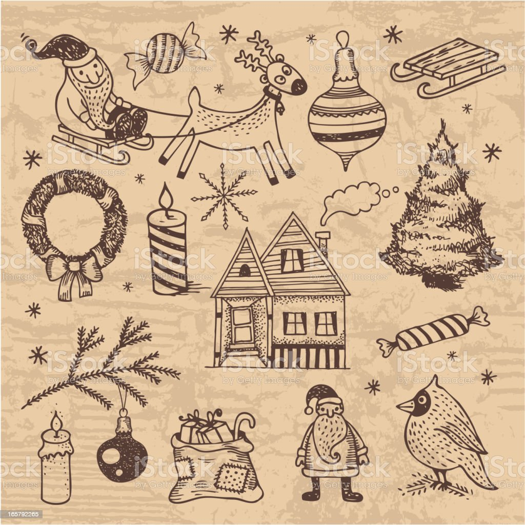 Vintage style hand-drawn Christmas set royalty-free stock vector art