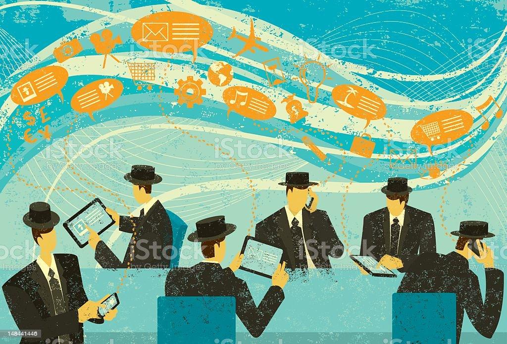 Vintage style illustration of social media marketing royalty-free stock vector art