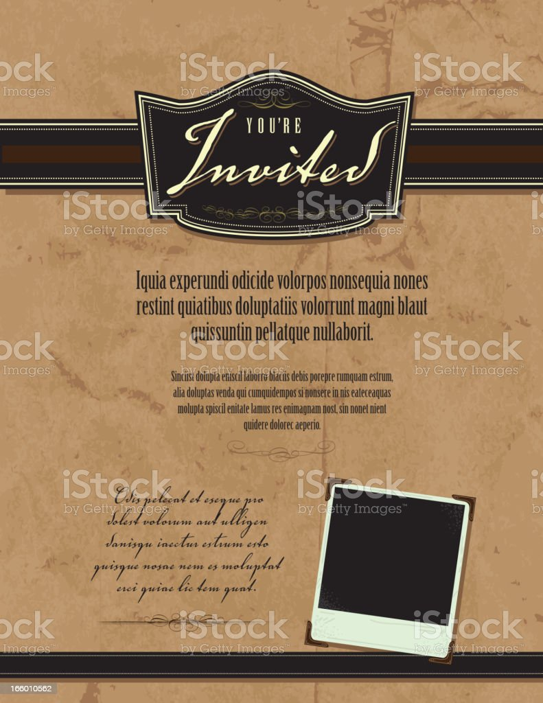 Vintage style invitation template with photo paper and paper background royalty-free stock vector art