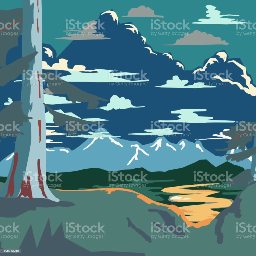 Vintage Style Landscape Background Retro Ads Print Vector vector art illustration