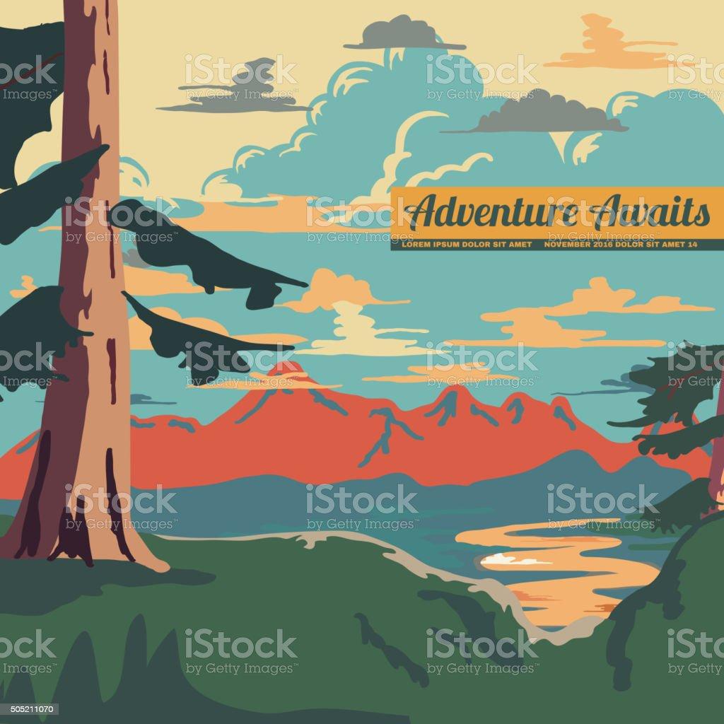 Vintage Style Landscape Background Vector vector art illustration