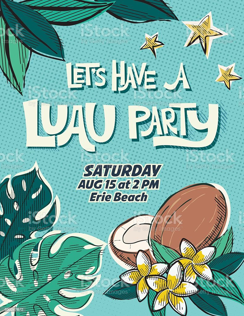 Vintage Style Luau Party Invitation Template vector art illustration