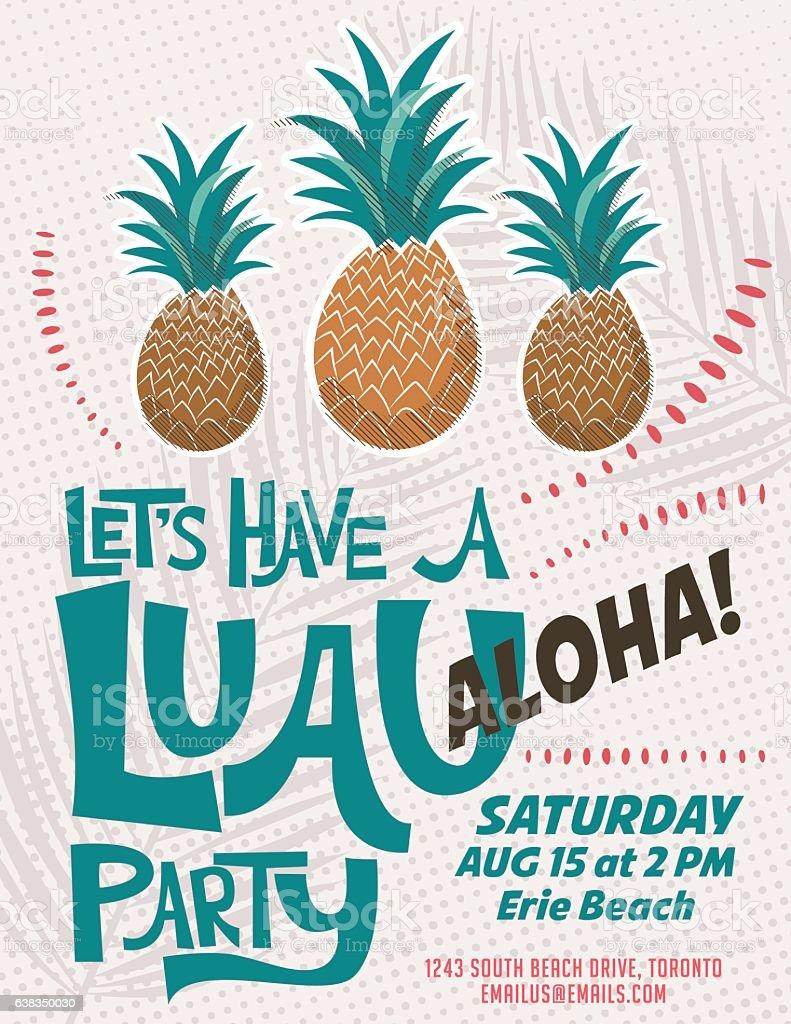 Vintage Style Luau Party Invitation Template vector art illustration