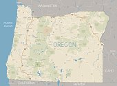 Vintage style map of the state of Oregon