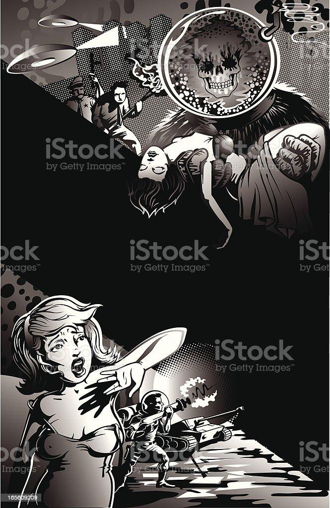 Vintage Style Movie Poster of Aliens Capturing Scared Women vector art illustration