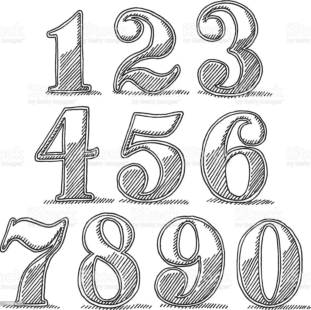 Vintage Style Numbers Drawing vector art illustration