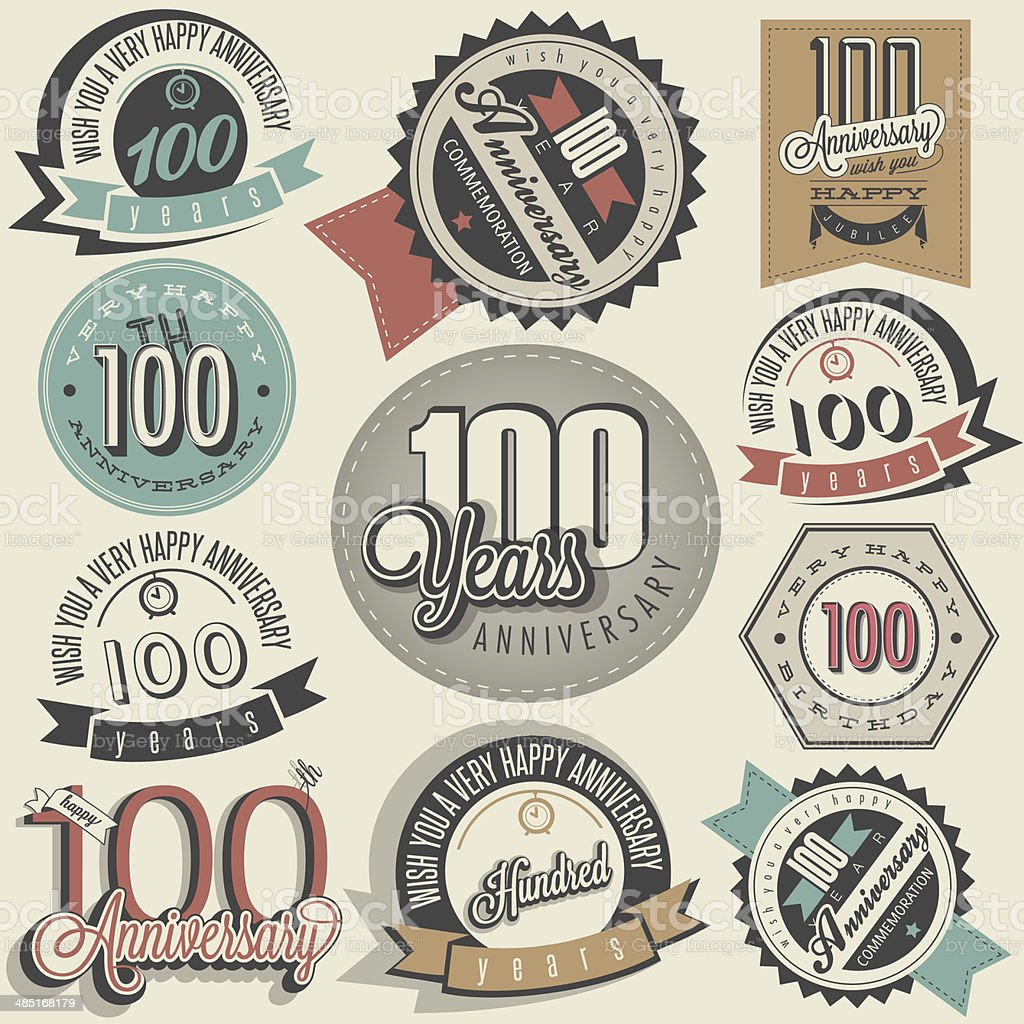 Vintage style One Hundred anniversary collection. vector art illustration