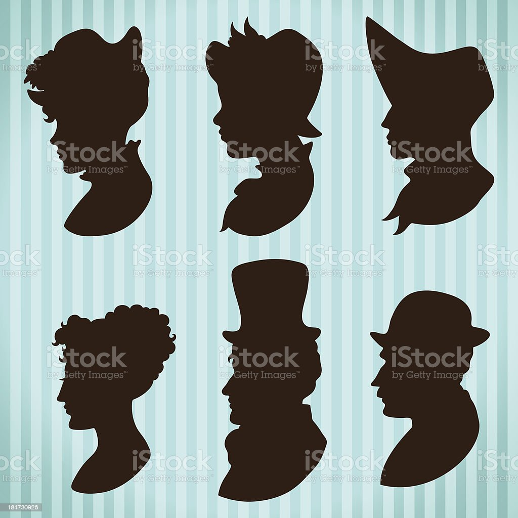 Vintage style people profiles silhouettes vector art illustration