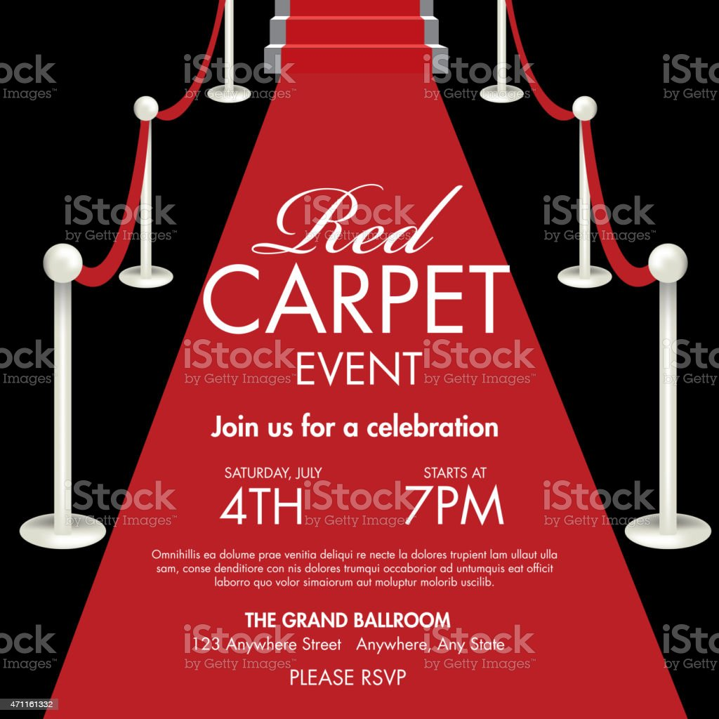 Vintage style Red and black Carpet Event ticket invitation template vector art illustration