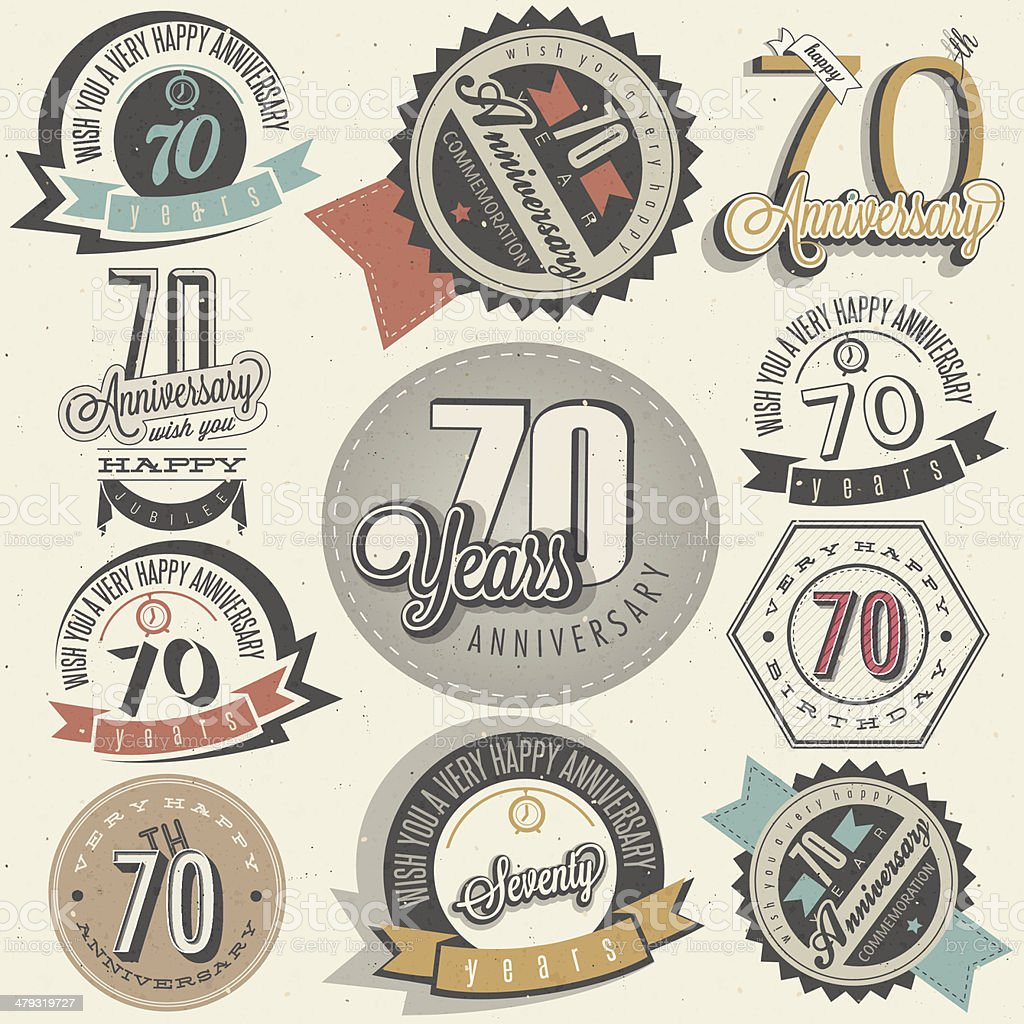 Vintage style Seventy anniversary collection vector art illustration