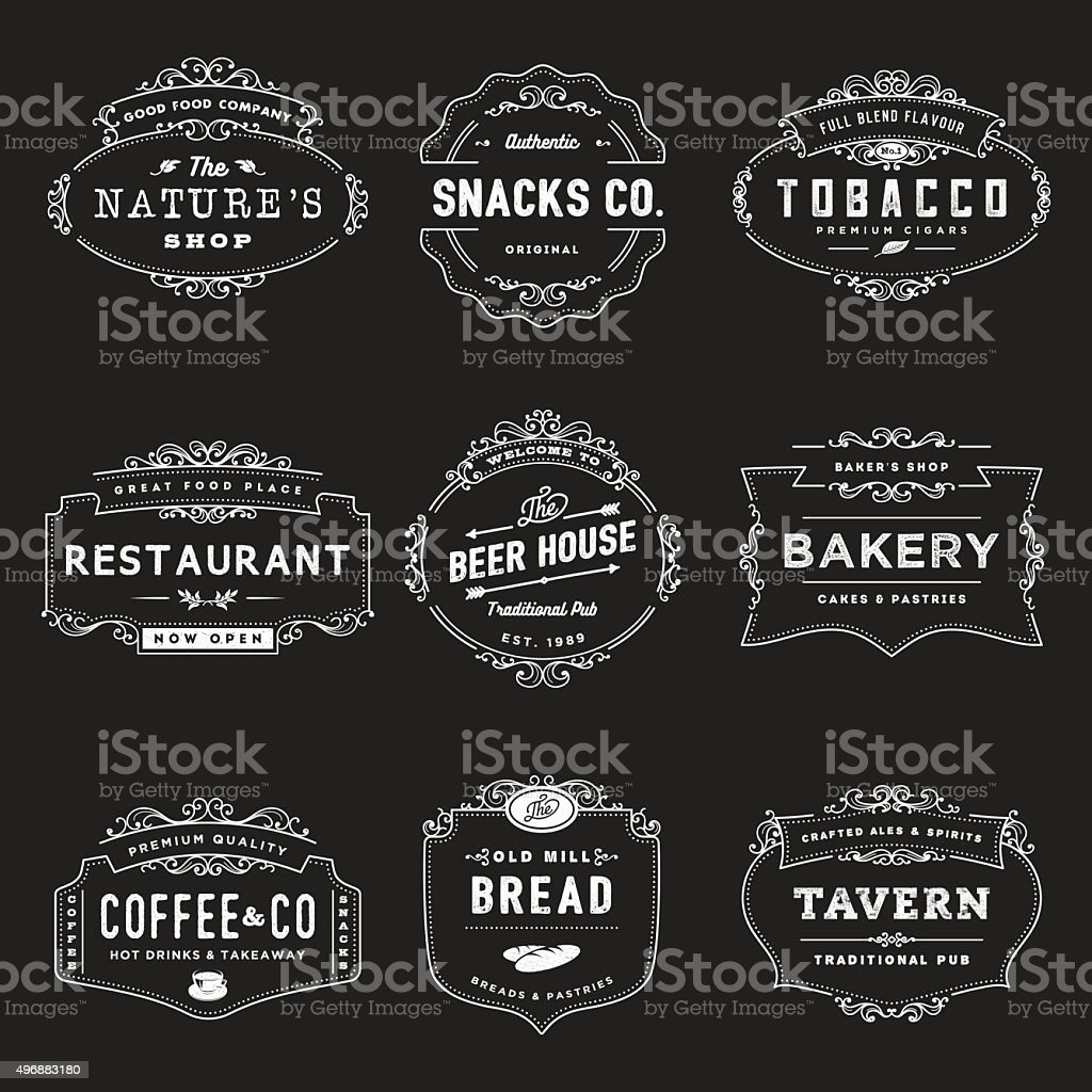 Vintage Style Shop Insignia vector art illustration