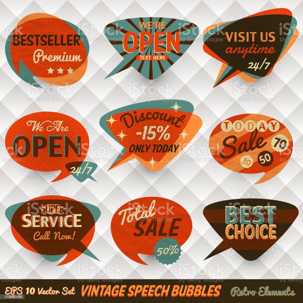 Vintage Style Speech Bubble Cards vector art illustration
