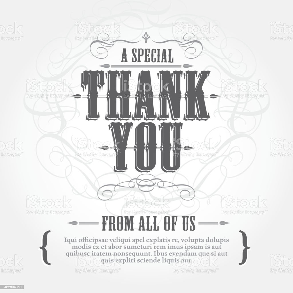 Vintage style Thank You card greeting design template royalty-free stock vector art
